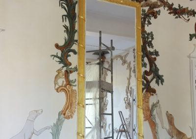 Dorure achevée  -encadrement du miroir