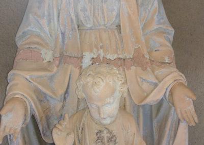 Madone - Vierge à l'enfant. Détail avant la restauration