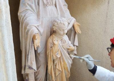 Madone - Vierge à l'enfant. Pendant restauration