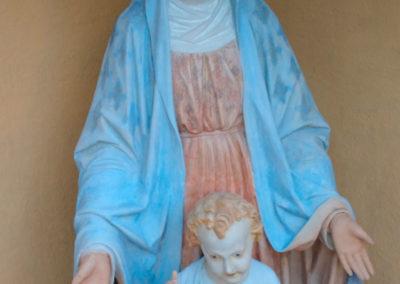 Madone - Vierge à l'enfant. Vue de face après restauration